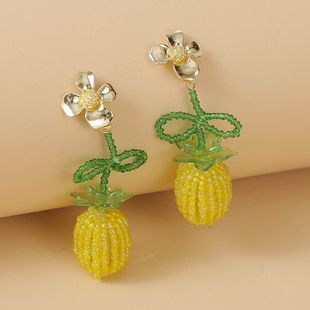 fashion  Bohemian handmade pineapple fruit rice bead earrings Korean cute glass woven earrings nihaojewelry wholesale NHLA216215's discount tags