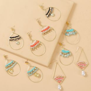 Bohemian shell hand-woven rice bead earrings  creative round earrings jewelry nihaojewelry wholesale NHLA216216's discount tags