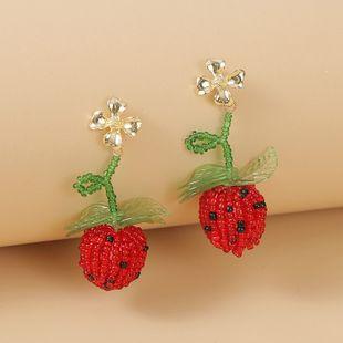 Korean cute glass rice beads fruit strawberry earrings  trend red geometric woven earrings jewelry nihaojewelry wholesale NHLA216218's discount tags