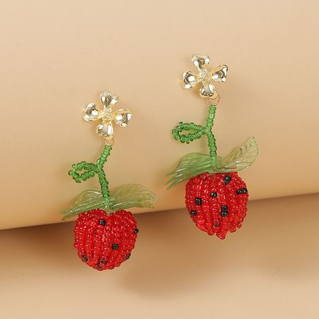 Coréen mignon verre perles de riz fruits fraise boucles d'oreilles tendance rouge géométrique tissé boucles d'oreilles bijoux nihaojewelry gros NHLA216218's discount tags