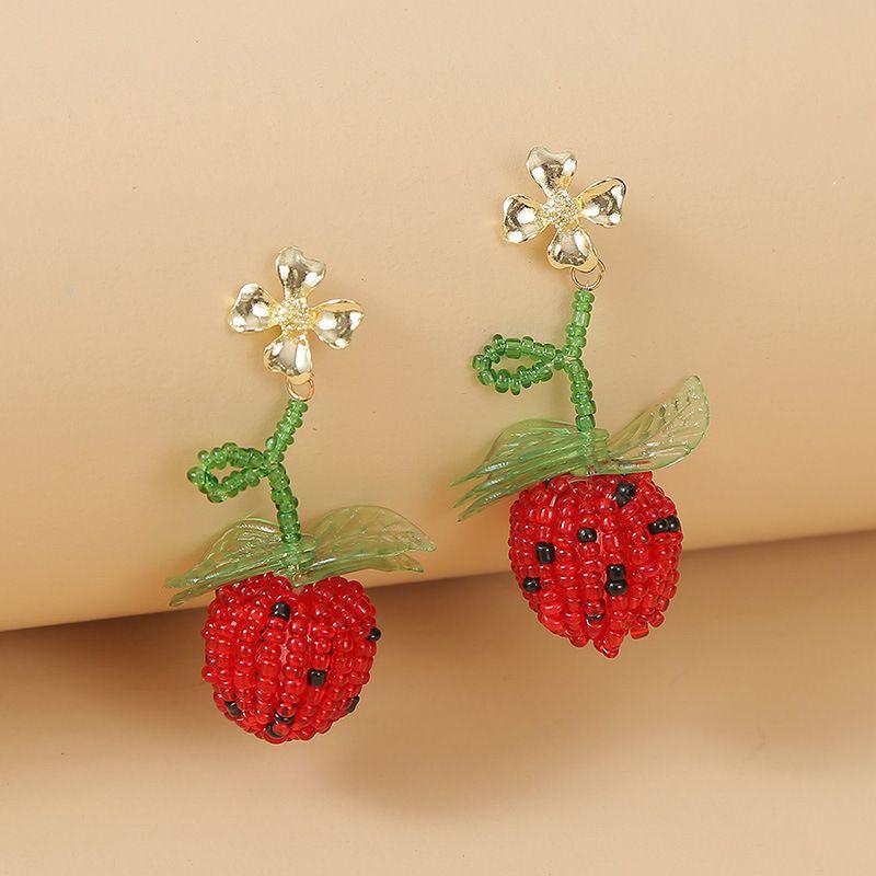 Korean cute glass rice beads fruit strawberry earrings  trend red geometric woven earrings jewelry nihaojewelry wholesale NHLA216218
