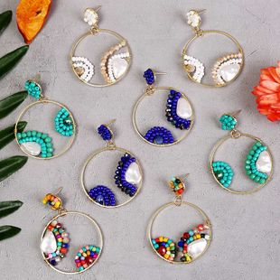 Bohemian geometric round pearl rice bead earrings  creative personality handmade resin earrings nihaojewelry wholesale NHLA216219's discount tags