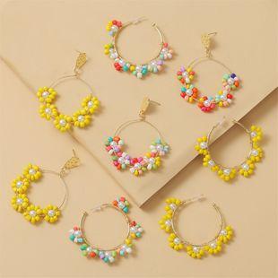 fashion new bohemian handmade  colorful flowers  bead earrings  creative personality geometric woven beaded earrings jewelry NHLA216220's discount tags
