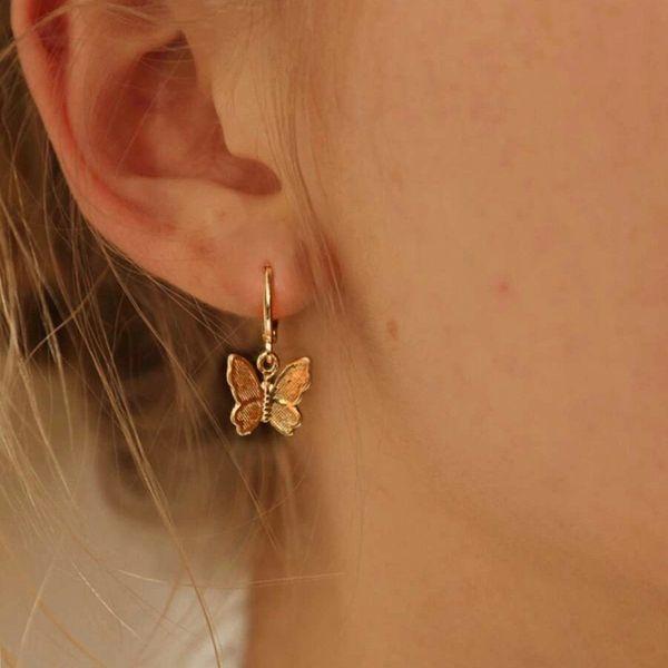 korean fashion new butterfly pendant earrings creative retro golden frosted metal earrings nihaojewely wholesale NHPJ216243