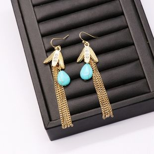 fashion new long  tassel earrings turquoise white turquoise earrings metal flower-shaped tassel earrings NHOM216060's discount tags