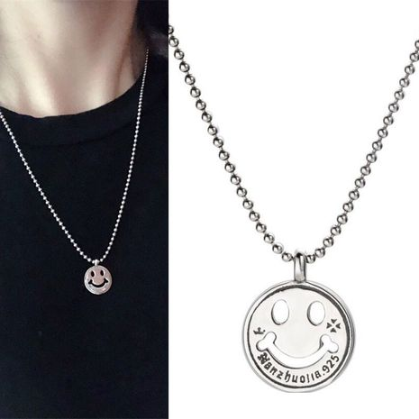 Fashion retro simple smile face personality girl necklace NHSC217004's discount tags