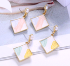 Korean fashion sweet and simple geometric square personality temperament earrings NHSC216997