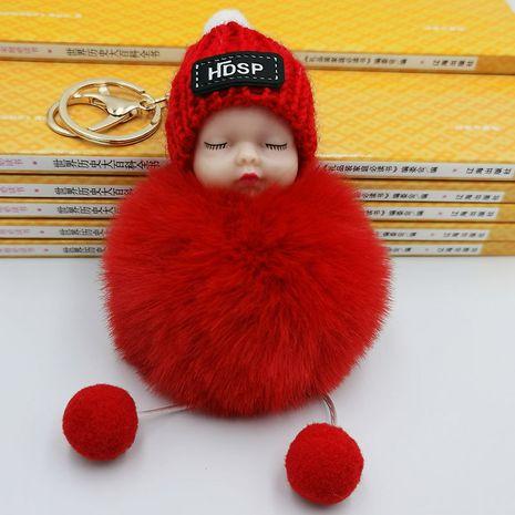 Venta caliente de moda nueva linda muñeca durmiente bola de pelo llavero bolso de escuela monedero colgante coche llavero al por mayor NHDI216259's discount tags