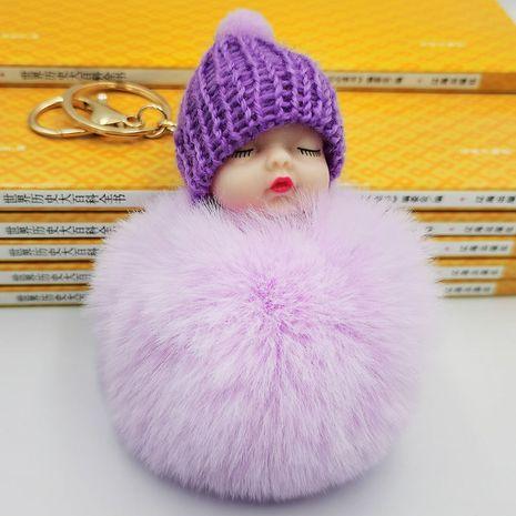 Venta caliente de la moda nueva muñeca linda durmiendo bola de piel llavero muñeca linda durmiente monedero llave del coche colgante al por mayor NHDI216260's discount tags
