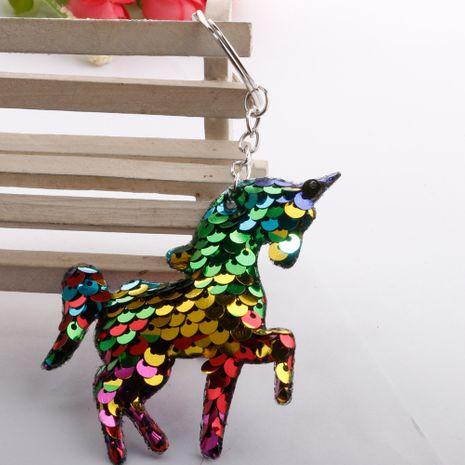 Nueva moda venta caliente reflexivo escamas de pescado lentejuelas unicornio llavero colorido pony lentejuelas monedero colgante coche accesorios al por mayor NHDI216263's discount tags
