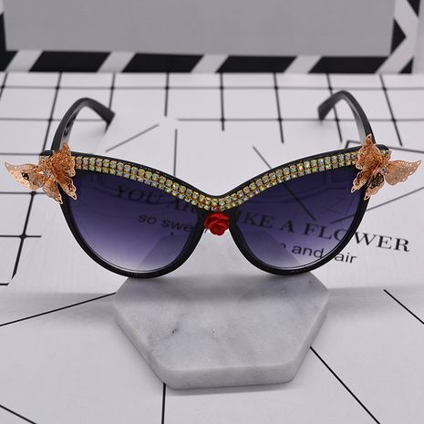 fashion new hot sale Metal Butterfly Diamond Cat Eye Magnetic Sunglasses Women Vintage Carved Sunglasses Wholesale NHNT216265's discount tags