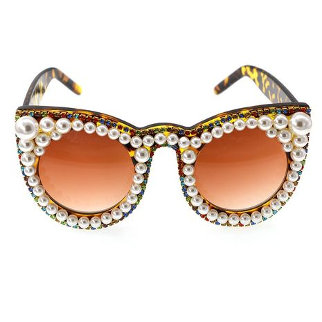 New fashion simple cat eye diamond pearl sunglasses stage catwalk show glasses nihaojewelry wholesale NHNT216269's discount tags