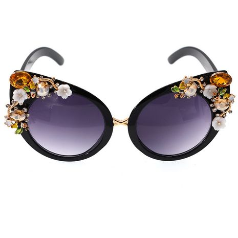 fashion new  simple Baroque fashion trend exaggerated cat's eye three-dimensional bead sunglasses long chain tassel nihaojewelry wholesale NHNT216271's discount tags