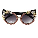 fashion new  personality Korean  diamond cat eyes UV protection fashion wild carved baroque sunglasses sunglasses nihaojewelry wholesale NHNT216273