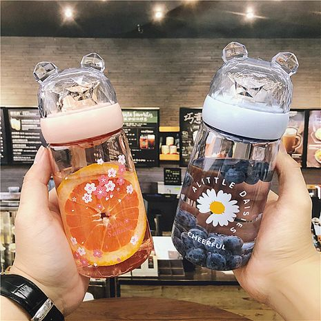 Korean  fashion cute bear plastic cup female student portable with tea compartment sports small fresh water cup wholesale NHtn216285's discount tags