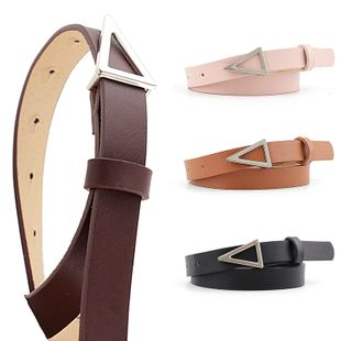 Korean fashion hot sale models silver triangle buckle snap belt women wild decoration candy color ladies thin belt nihaojewelry wholesale NHPO216323's discount tags