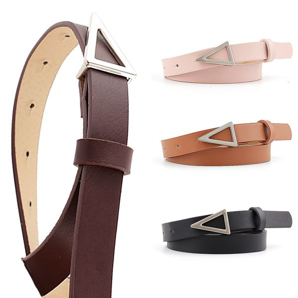 Korean fashion hot sale models silver triangle buckle snap belt women wild decoration candy color ladies thin belt nihaojewelry wholesale NHPO216323