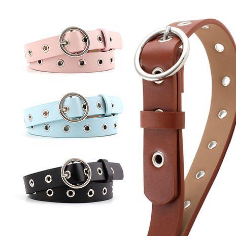 Korean fashion hollow corn eye belt ladies fashion round buckle decoration denim shorts casual pants belt pierced eye belt nihaojewelry wholesale NHPO216324's discount tags
