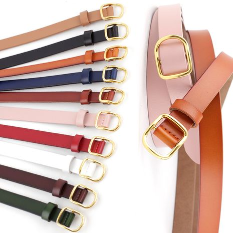 New leather thin belt wild fashion candy color decoration ladies gown dress cowhide knotted belt nihaojewelry wholesale NHPO216325's discount tags