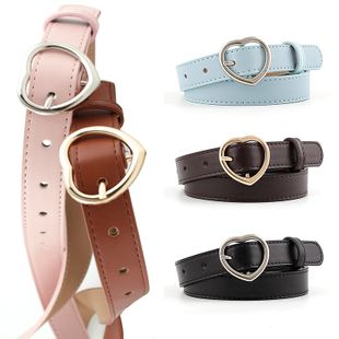 New fashion  heart-shaped buckle women's  belt  wild casual jeans peach heart buckle decorative belt women wholesale NHPO216326's discount tags