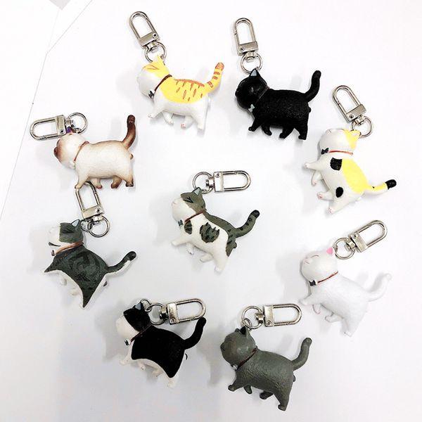 fashion new cute Cartoon three-dimensional kitten keychain  British shorthair cat key ring bag pendant cure flower cat wholesale NHJP216329