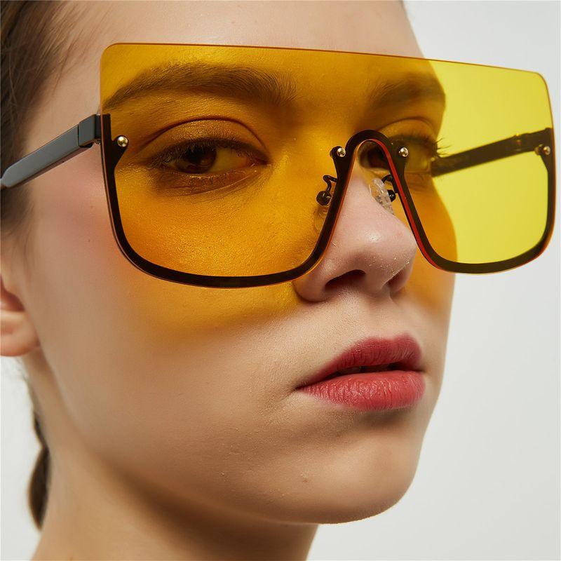 fashion simple new Big frame glasses  retro halfframe glasses  hiphop sunglasses women tide large square sunglasses nihaojewelry wholesale NHXU216337