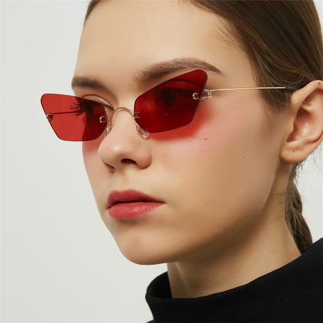 Fashion new simple pointed cat eye sunglasses women retro trend borderless small frame sunglasses nihaojewelry wholesale NHXU216344's discount tags