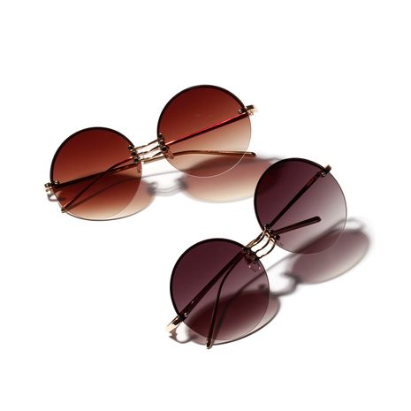 Round retro sunglasses women metal borderless glasses men big frame modified face retro sunglasses niyhaojewerl wholesale NHXU216346's discount tags