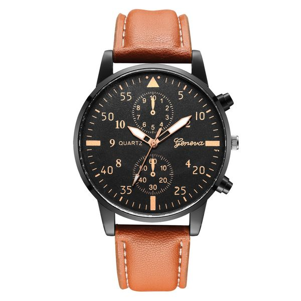 Fashion ultra-thin men's business watches  black shell quartz men's belt watch cheap men's watches wholesale NHSY216350