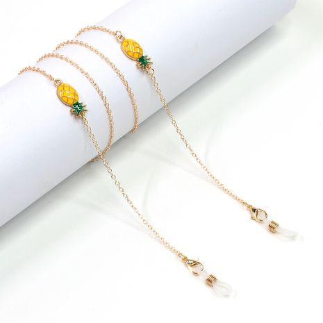lunettes en métal de mode femmes corde or fruit ananas pendentif lunettes chaîne en gros NHBC216393's discount tags