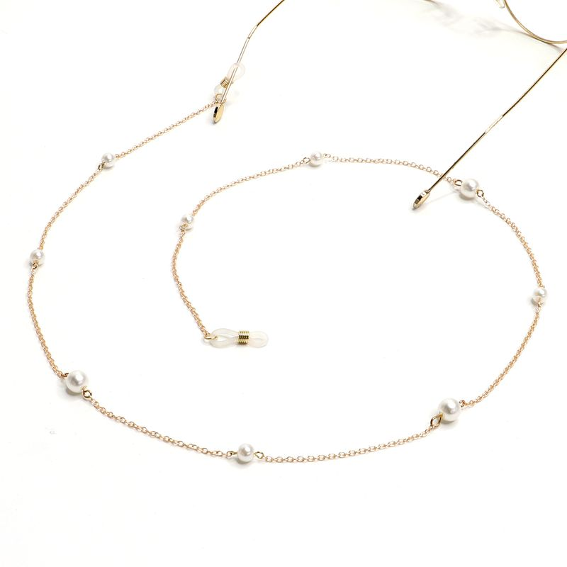 New ladies simple imitation pearl metal glasses chain fashion glasses accessories chain silicone anti-skid glass chain wholesale NHBC216401