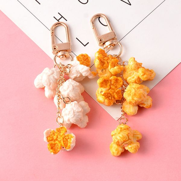 fashion cute Creative simulation food popcorn keychain AirPods protective cover mobile phone pendant headset bag schoolbag pendant wholesale NHCB216412