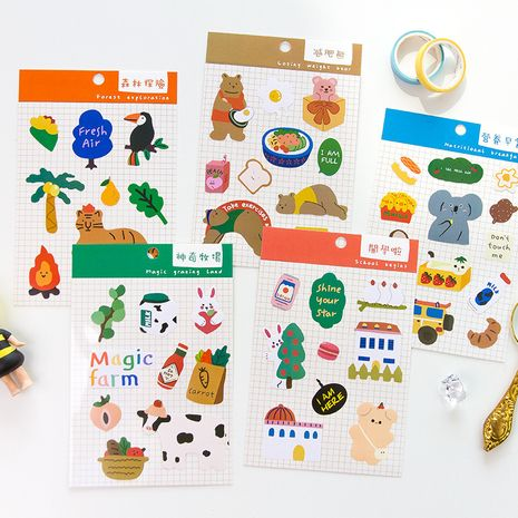 Korean Cute cartoon stickers student children water cup hand account material stickers diy mobile phone shell decoration small stickers wholesale NHZE216432's discount tags