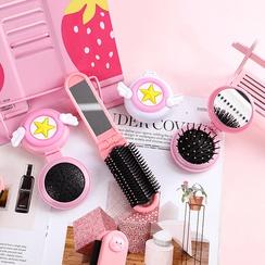 Korean pink fashion new Creative folding airbag comb girl heart cute portable mini portable mirror wholesale NHHE216464