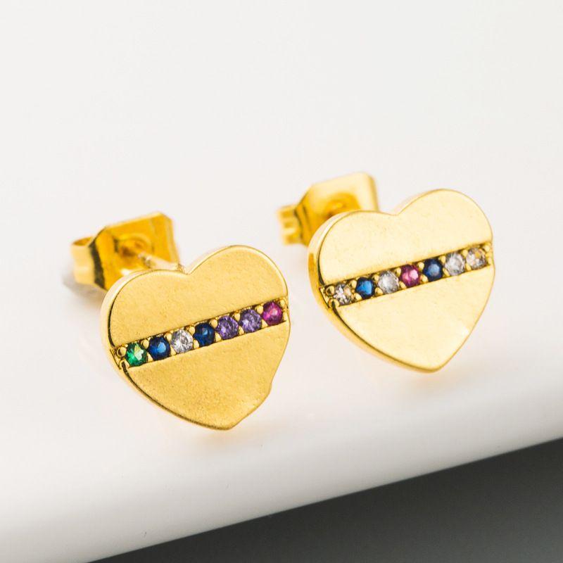 womens  gold heartshaped earrings brass microset color zircon earrings exquisite fashion earrings wholesale NHLN216477