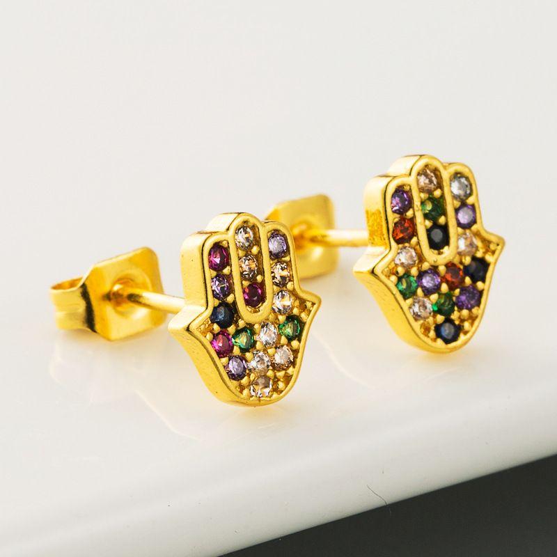fashion new simple  style original design brass micro-set color zircon palm earrings fashion trendy earrings nihaojewelry wholesale NHLN216479