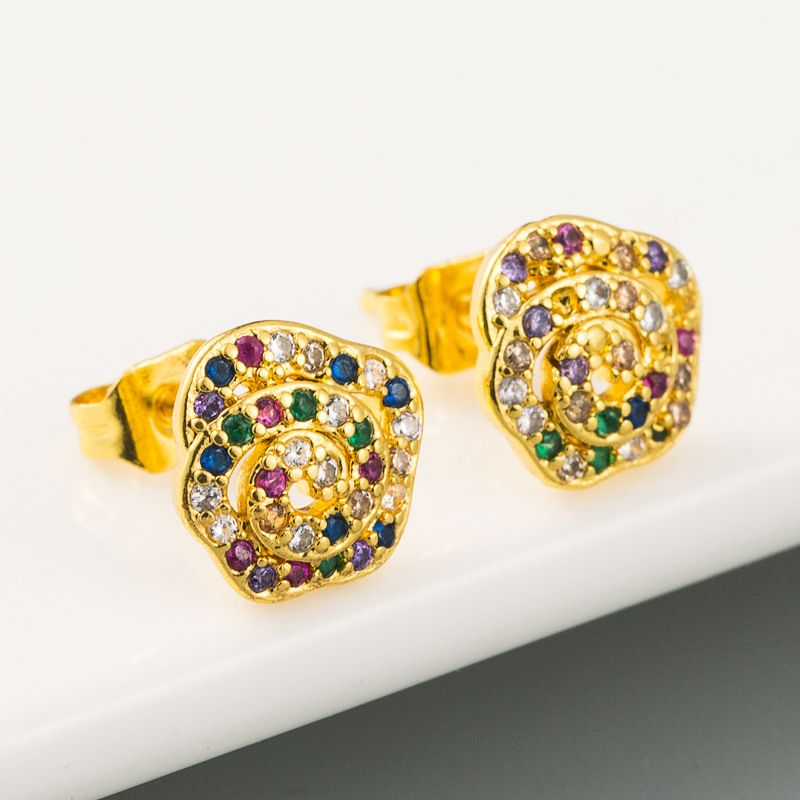 fashion simple new  creative flower-shaped rainbow series earrings yellow plated 18K gold micro inlaid zircon earrings NHLN216483