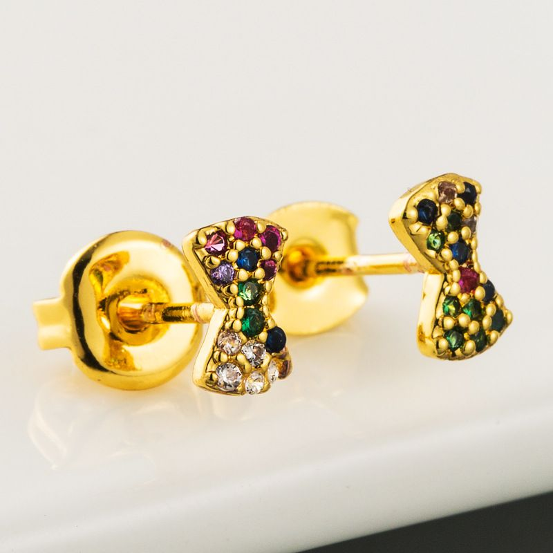 fashion new simple brass micro-set color zircon earrings with gold plated bow earrings wholesale NHLN216482