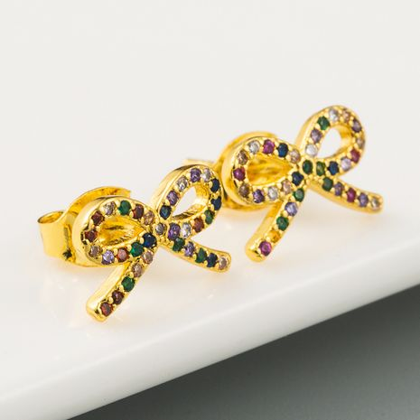 Bowknot earrings ladies Korean sweet and cute wild earrings brass micro-set color zircon plated real gold earrings wholesale  NHLN216486's discount tags