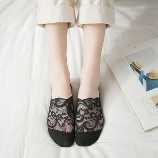 summer new products plus cotton bottom invisible lace socks wholesale solid color non-slip anti-off breathable ladies boat socks NHFN216569's discount tags