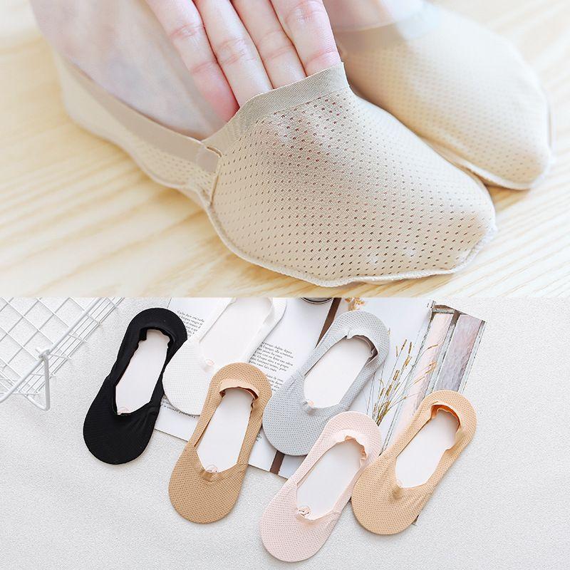 Womens summer breathable mesh invisible socks deep mouth ladies mesh lace boat socks female silicone nonslip socks NHFN216575