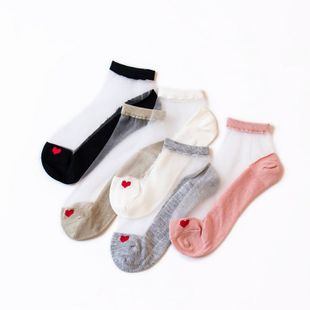 Crystal Stockings Women's Ultra-Thin Crystal Silk Love Jacquard Style Short Tube Boat Socks women's socks wholesale NHFN216584's discount tags