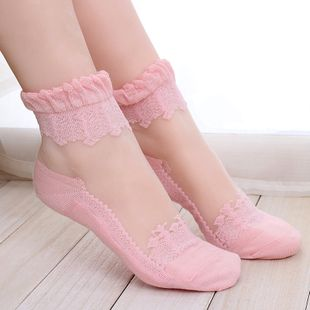 women's glass fiber socks wholesale short stockings short tube ultra-thin crystal socks summer socks wholesale NHFN216588's discount tags
