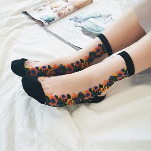Summer new glass fiber short tube socks lolita transparent crystal stockings retro small flower pile socks nihaojewelry wholesale NHFN216592's discount tags