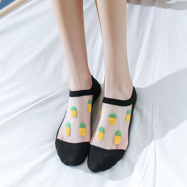 Glass silk boat socks cotton invisible crystal stockings shallow mouth invisible cartoon pineapple socks wholesale invisible socks NHFN216594