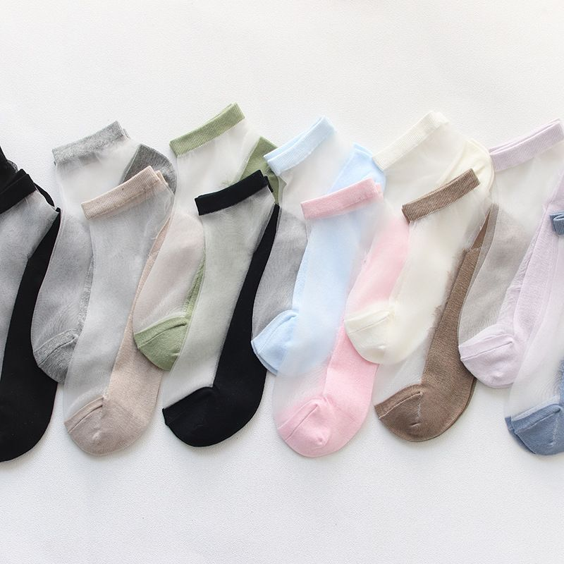 Ladies short tube solid color casual cotton socks spring thin short stockings breathable sweat absorption plus cotton bottom glass silk boat socks NHFN216567