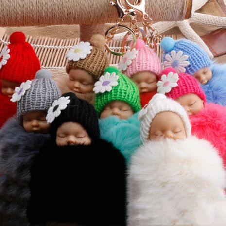 Venta caliente moda nueva calidad linda muñeca durmiente piel bola llavero Meng bebé monedero clave colgante al por mayor NHDI216249's discount tags