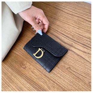 Moda pequeña cartera pequeña sección corta nueva bolsa de tarjeta de hebilla en forma de D coreana bolsa de clip de cambio nihaojewelry al por mayor NHGA216813's discount tags