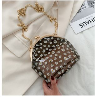 summer fashion fresh simple PVC transparent bag  plastic female bag printed small daisy shoulder messenger chain bag clip buckle bag nihaojewelry wholesale NHGA216826's discount tags