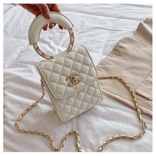 summer new women's bag small fragrance wind diamond  solid color chain handbag tide  mobile phone bag shoulder messenger bag nihaojewelry wholesale NHGA216832